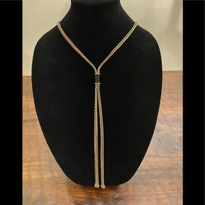 NWT Chicos gold tone tassel necklace 23""